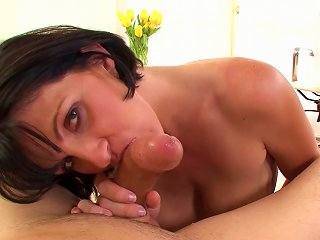 HellPorno Video - Enchanting Brunette MILF Gives Blowjob And