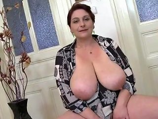 AlphaPorno Video - Mom Fondles Her Huge Saggy Natural Tits