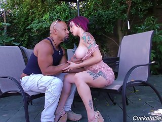 BravoTube Video - Tattooed Milf Cuckolding Her Hubby While Fucking A Monster Cock