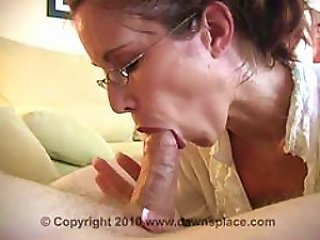 BravoTube Video - Glassed Brunette Milf Gives Blowjob And Swallows  In An  Vid