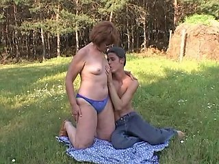 XHamster Video - Horny Farm Boy Fucks A Redhead Mature Outdoors Porn 5d