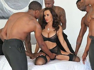 AnySex Video - Perfectly Shaped White MILF Lisa Ann Is Fucked By Several Black Hot Blooded Studs